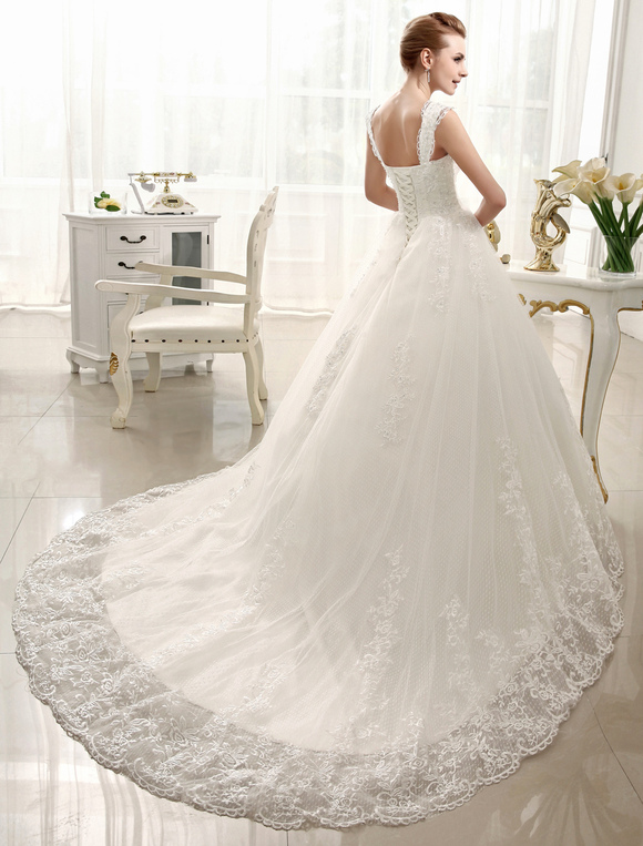 Ivory Wedding Dress Straps Backless Bridal Lace Sequin Chapel Train Gown No