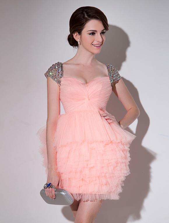 Nude Sweetheart Neck Wrap Sheath Tulle Pretty Prom Dress