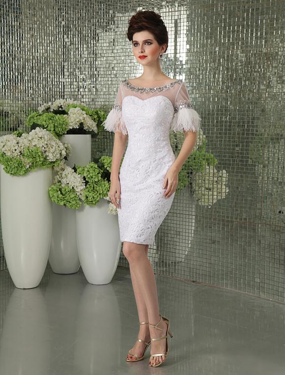 White Knee Length Cocktail Dress