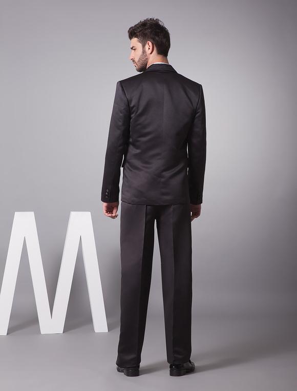 43ac554b5e965 ... 新郎スーツ メンズフォーマル サテンファブリック ブラック バレンタイン ウェディング 婚約日 男性用 チョッキ&パンツ ...