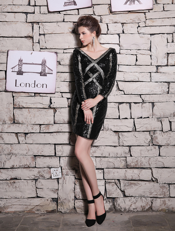 Milanoo / Beautiful Sheath V-Neck Lace Long Sleeves Sequined Cocktail Dress