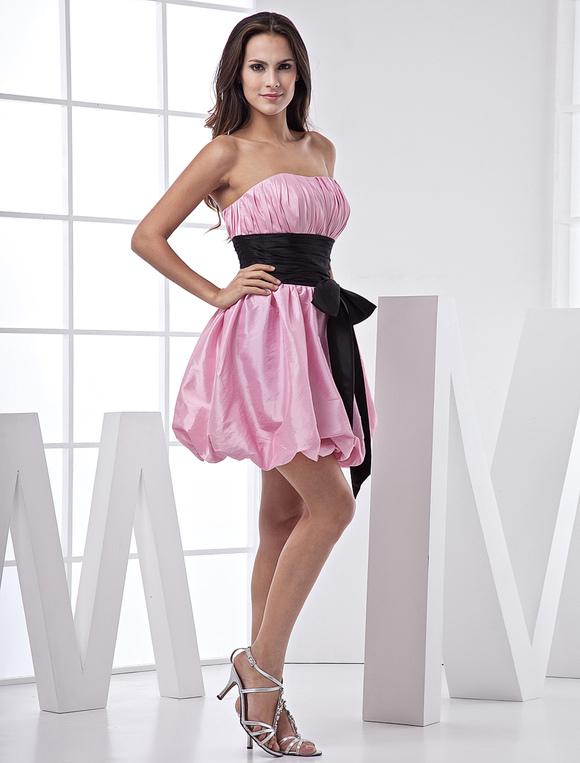 Pink Short Taffeta Sash Prom Dress Milanoo Com