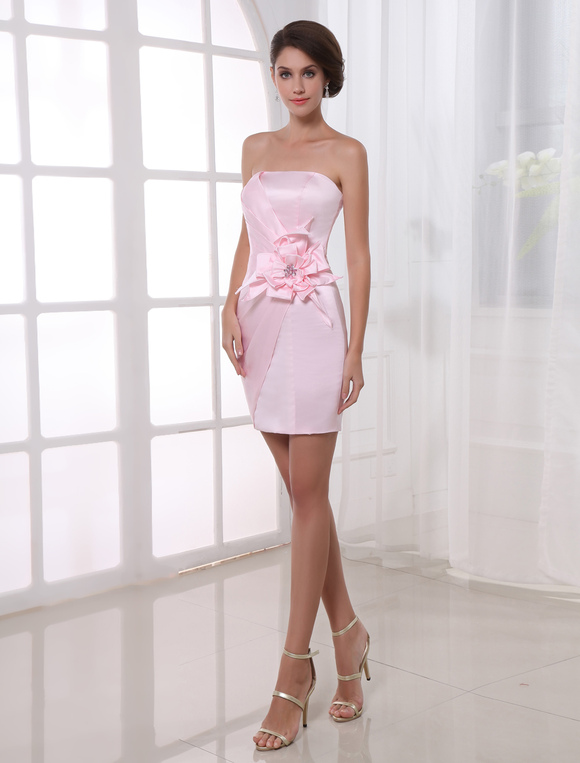Robe cocktail fourreau rose
