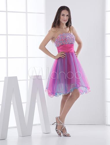 A Linha Strapless Beading Vestido Rosa Curto Homecoming