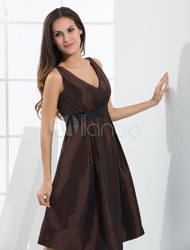 Brown V-Neck Taffeta Cocktail Dress - Milanoo.com