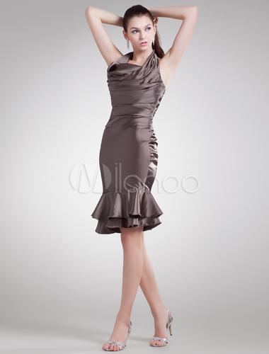 Brown Tiered Halter Elastic Woven Satin Short Fashion