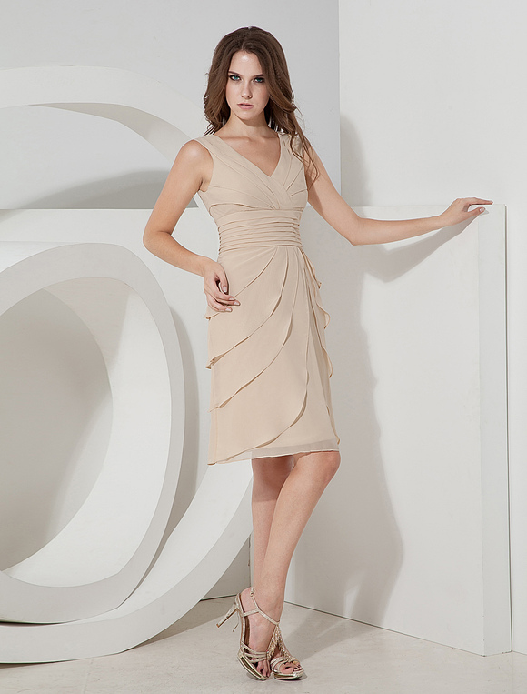 bb9d3605c0b Tiered V-Neck Chiffon Cocktail Dress Wedding Guest Dress - Milanoo.com