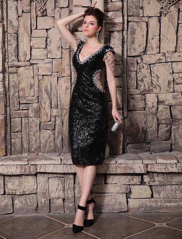 4c9c4cb5617c ... Grace V-Neck Beading Sheath Short Sleeves Sequined Evening Dress  Wedding Guest Dress-No ...