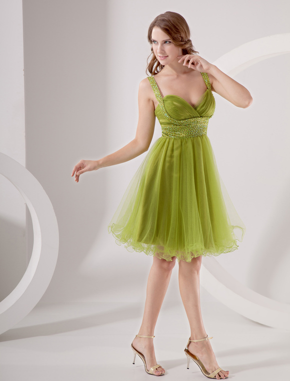 Green Sweetheart Homecoming Dress With Beaded Waist And
