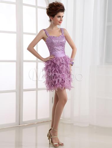 Kleid mit Federn in Zartlila - Milanoo.com