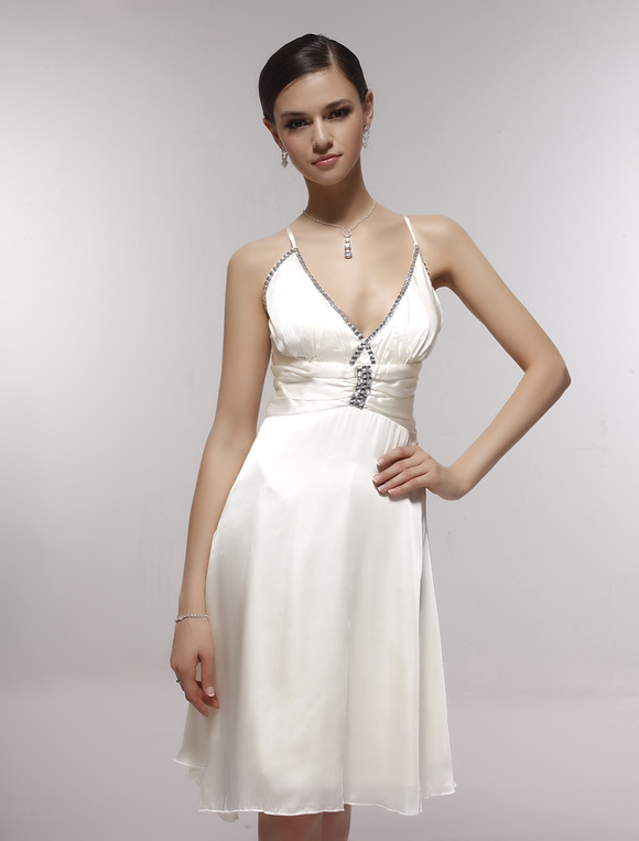 e7756aebb4d Sexy Satin Gauze V-neck Spaghetti Straps Knee-length Graduation Dress-No.