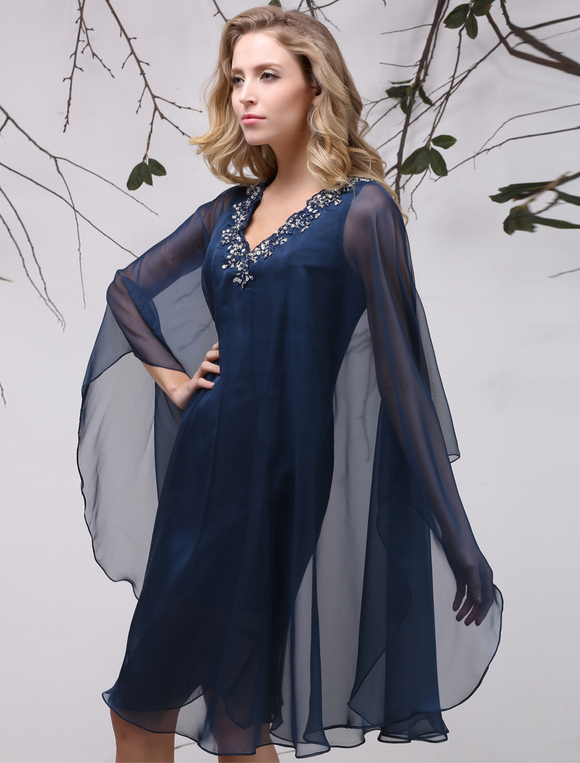 cbbc02dafea ... Dark Navy A-Line Chiffon Mother of the Bride Dress Wedding Guest Dress  Milanoo- ...
