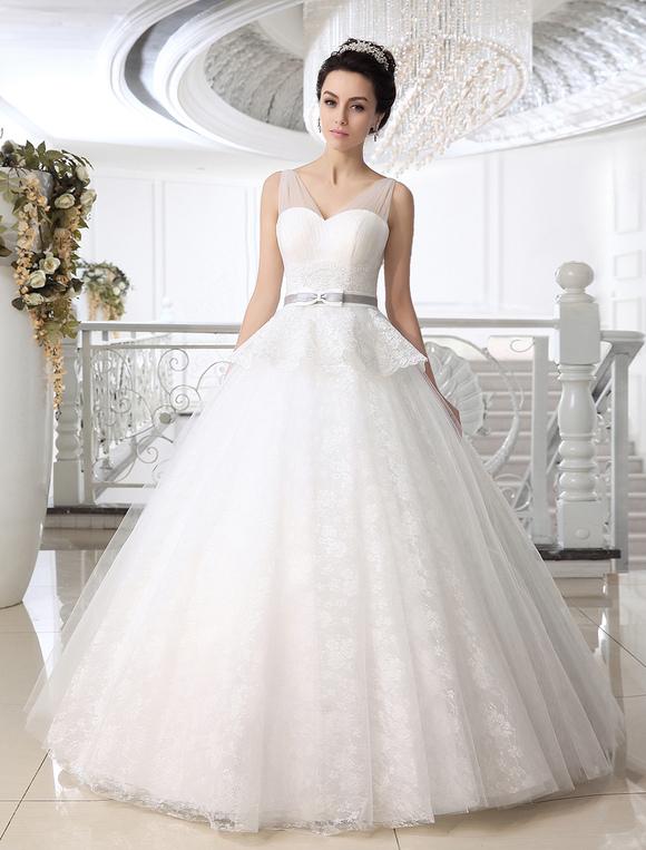 vestido de novia de tul blanco con escote en v y peplum - milanoo