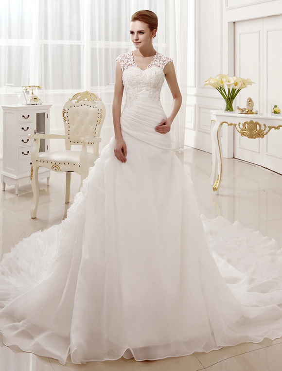 a-line chapel train beading ivory bridal wedding gown with keyhole