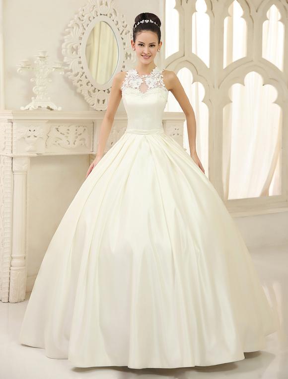 vestido de novia de satén con escote redondo milanoo - milanoo