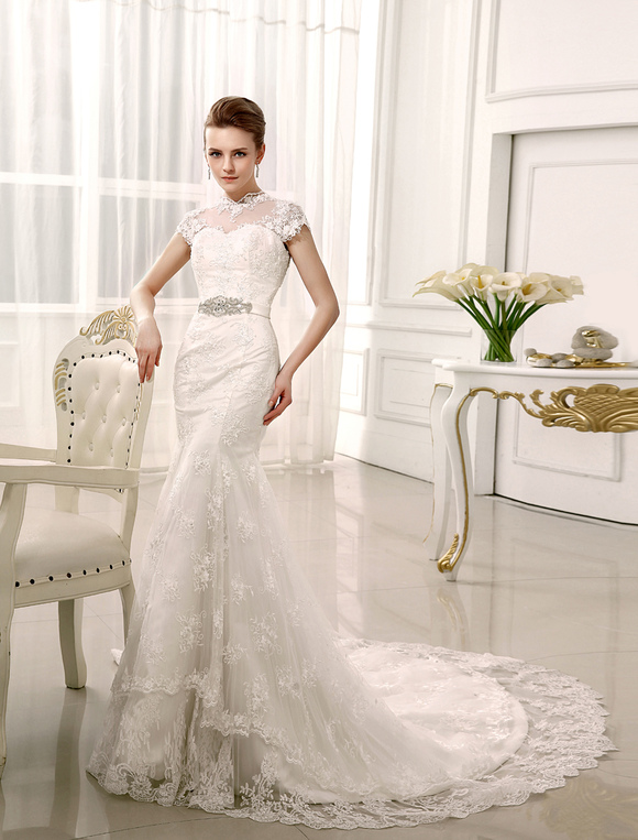 mermaid chapel train rhinestone ivory bridal wedding gown