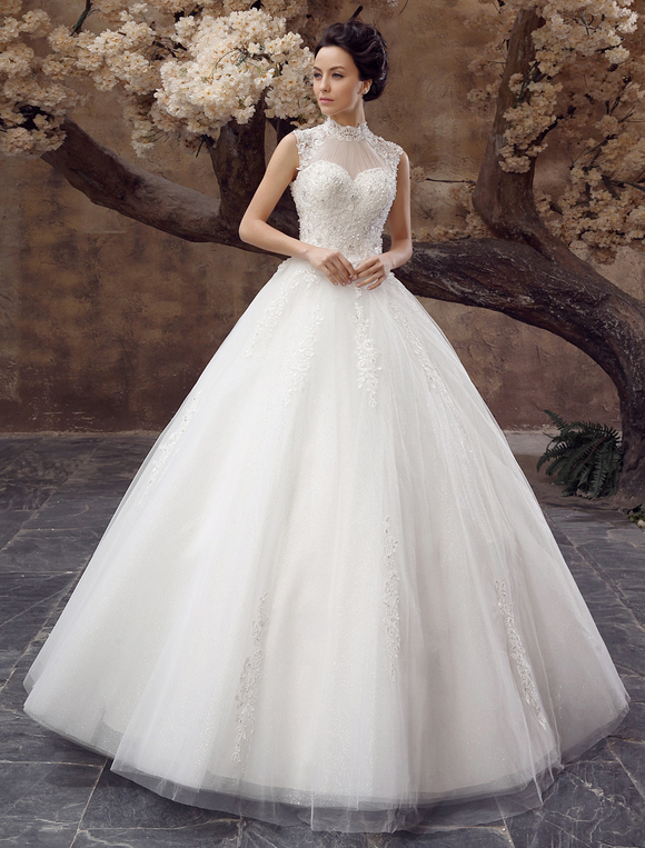 wedding dresses ball gown bridal dress lace applique open