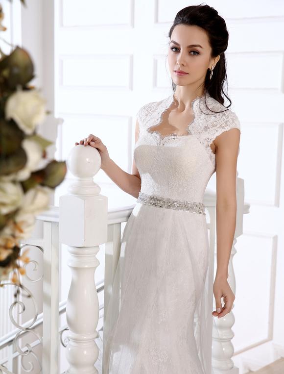 c619b1fc5 Vestido de novia de encaje blanco con diamante de imitación de cola larga  -No.