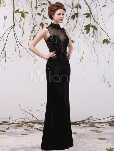 Black Wedding Dress High Collar Beaded Illusion Plug-in Neckline ...