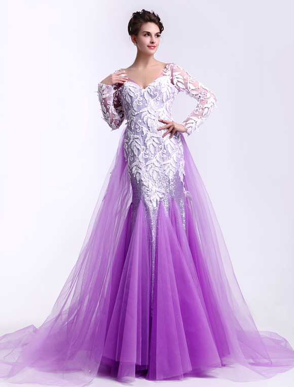 Lilac V-Neck Long Sleeves Lace Mermaid Tulle Fashion Prom Dress  Milanoo