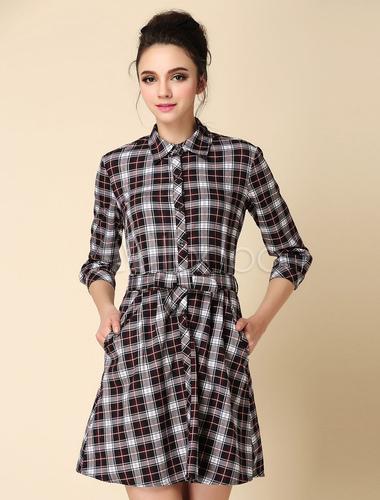 último descuento calidad de marca estilo de moda Vestido de 100% algodón a cuadros con manga larga