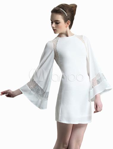 dd17e647c Vestidos blanco manga larga corto – Vestidos de fiesta