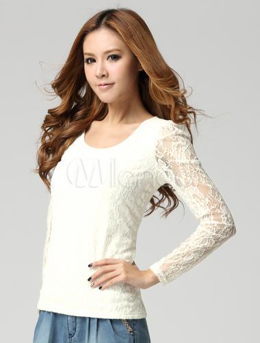 ... Adorable t-shirt écru blanc unicolore avec dentelle de manches  longues-No.2 ...