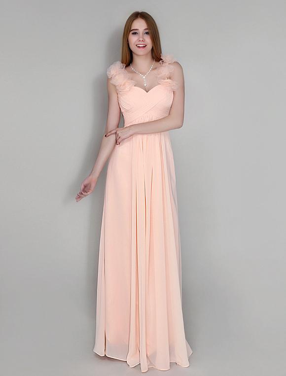 robe demoiselle d 39 honneur pliss e en chiffon rose rougissant de col en c ur avec fleur sur l. Black Bedroom Furniture Sets. Home Design Ideas