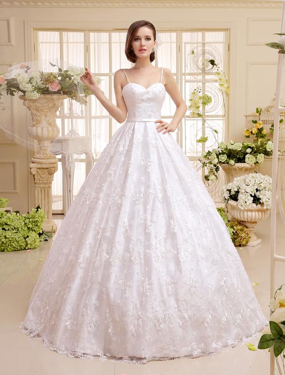 a4c2ccce8e ... Vestido de noiva marfim linha-A com alças e decote coração em renda e  Cetim ...
