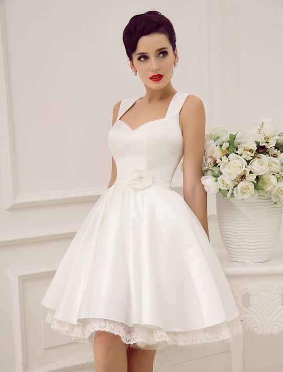 Short Wedding Dresses Satin 1950 S Vintage Bridal Dress