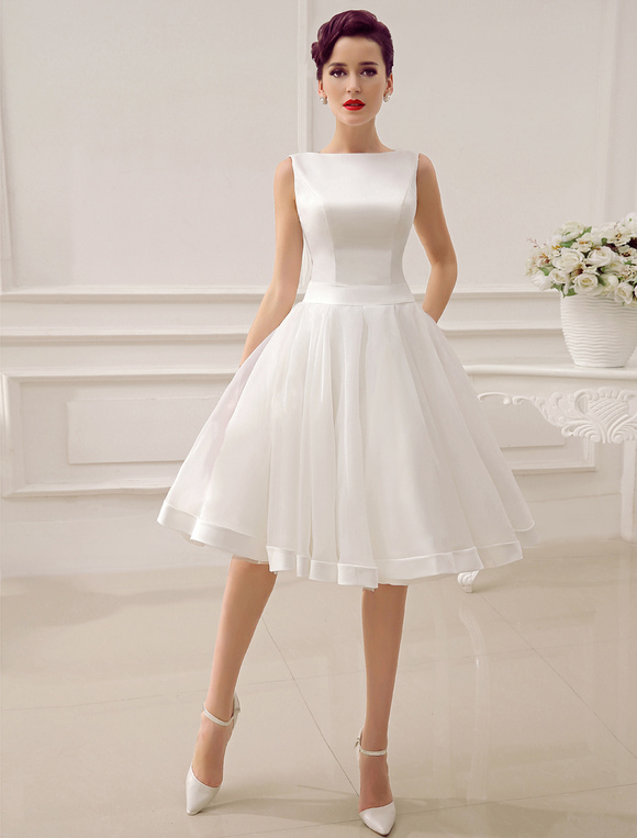 Short Wedding Dress Vintage Bridal 1950s Bateau Sleeveless Reception Gown Milanoo No