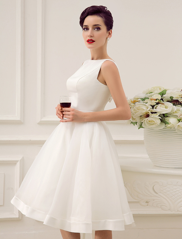 Short Wedding Dress Vintage Bridal Dress 1950\'s Bateau Sleeveless ...