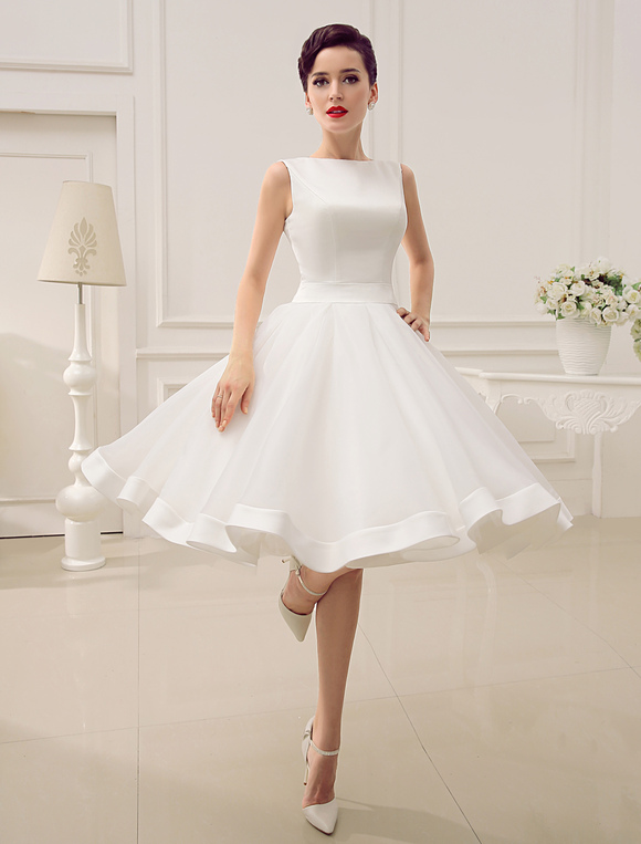 Short wedding dress vintage bridal dress 1950s bateau sleeveless short wedding dress vintage bridal dress 1950s bateau sleeveless reception bridal gown milanoo no junglespirit Images