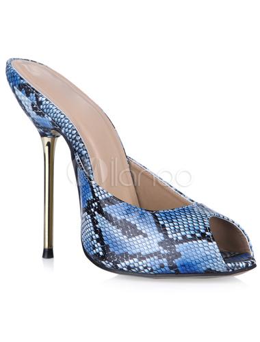 ... Belles sandales mules à peep-toe artificiel à talons aigus de motif  serpent -No ...