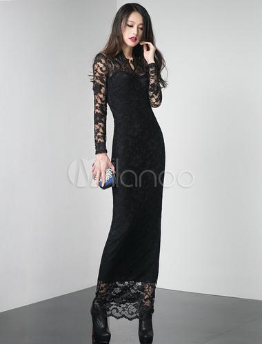 552cd8d54cf9e ... Vestito lungo nero sexy monocolore con scollo a V e maniche lunghe di  pizzo per le ...