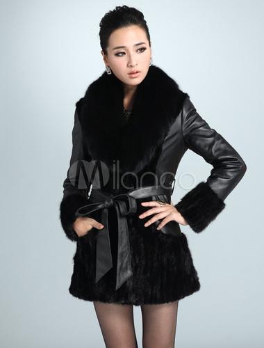 low priced 21182 d0e12 Cappotto di pelle con collo in pelliccia nero elegante
