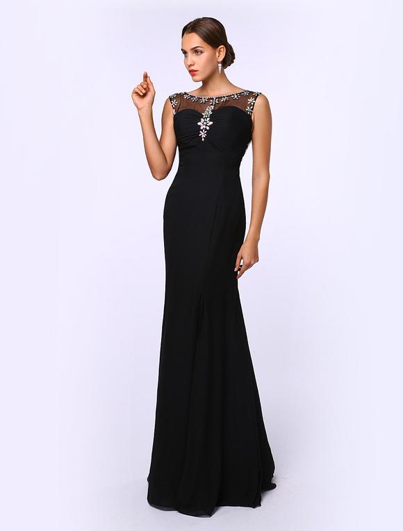 41677edfd75 ... Black Prom Dresses 2019 Long Mermaid Evening Dress Rhinestones Beading  Chiffon Floor Length Formal Dress Wedding ...