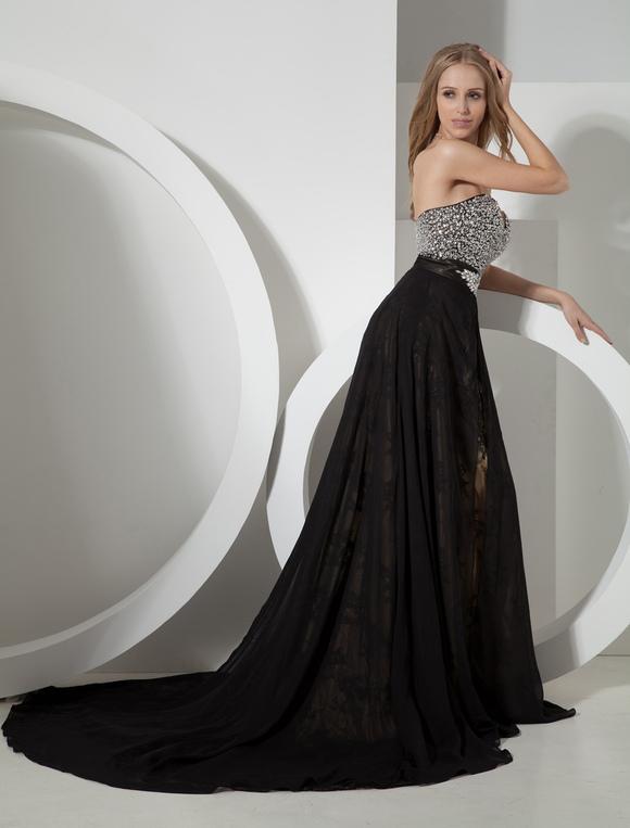 28916b6f54919 ... Black Wedding Dress Fully Beaded Sweetheart Bodice Exquisite Lace  Chiffon Overlay-No.3 ...