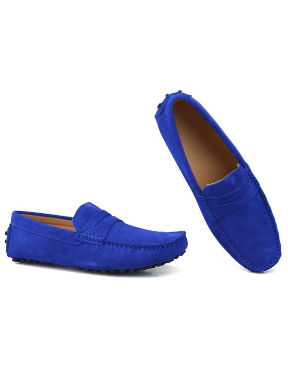 e8396e22a0 ... Confortável azul Royal redonda Toe couro Mocassim sapatos para homens  -No.4 ...