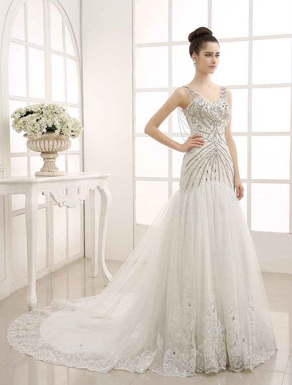V-Neck Backless Mermaid Wedding Gown with Netting Milanoo - Milanoo.com