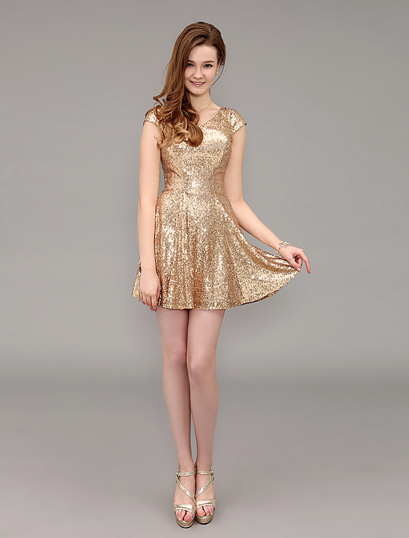 35844c2bfa ... Dourado curto assinado V vestido de baile de pescoço com capa luva-No.2  ...