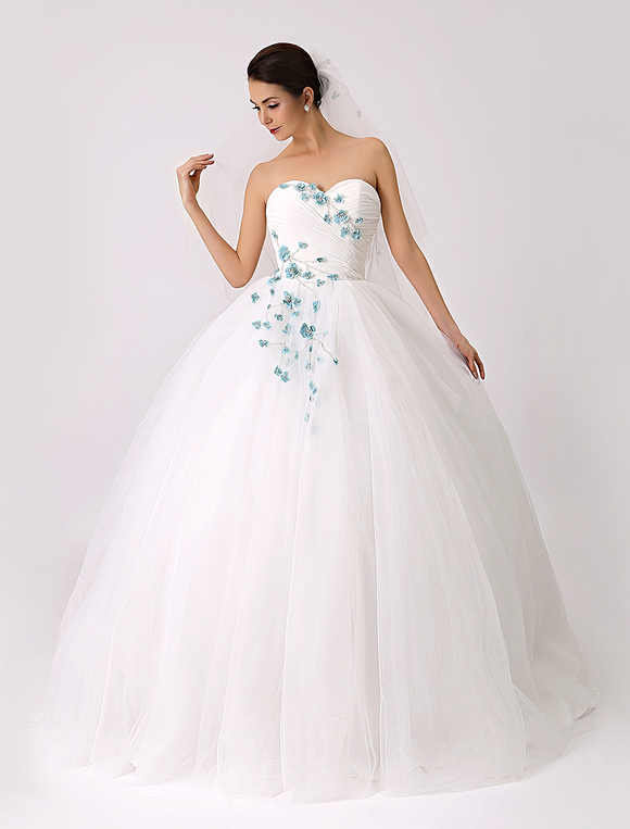 2018 Sweetheart Colored Ball Gown Wedding Dress With Flowers Veil Included Milanoo No