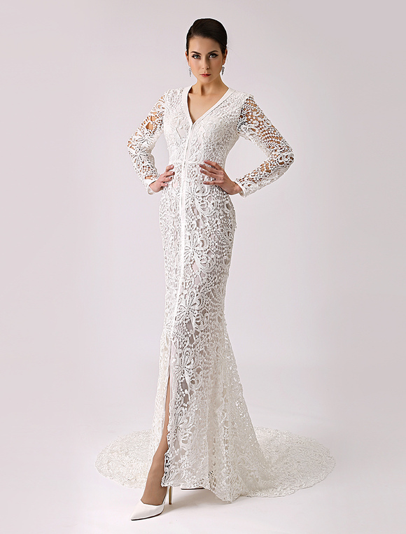 2017 Vintage V Neck Lace Wedding Dress with Long Sleeves Milanoo