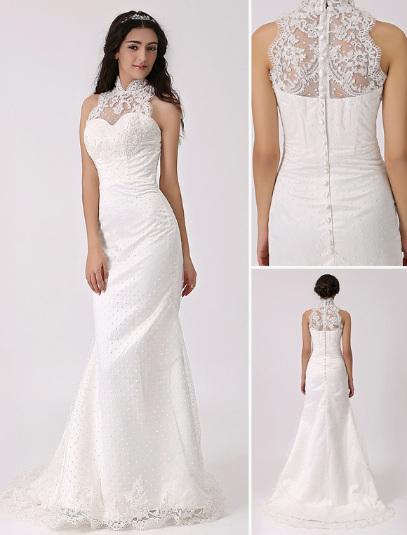 Vintage inspired illusion neck sheath column wedding dress for Lace sheath wedding dress vintage
