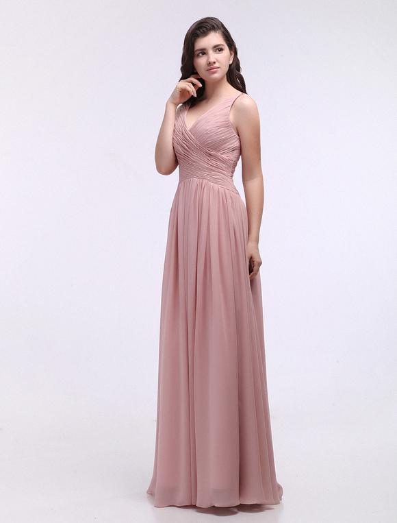 Dusty Pink Vestidos De Dama De Honra V Neck Rolded Chiffon Nude Grace Vestido De Dama De Honra