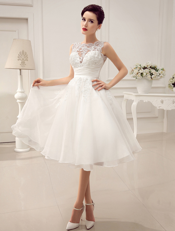 Short Wedding Dresses Vintage 1950\'s Bridal Gown Backless Lace ...