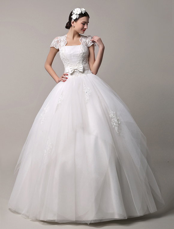 ... Short Sleeve Lace Princess Wedding Dress With Layered Tulle Skirt  Milanoo No.2 ...