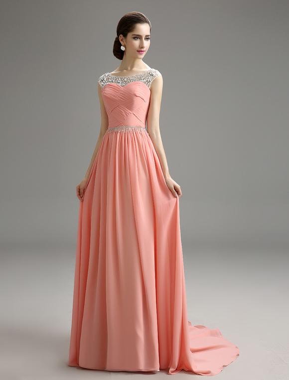 24b0b52010942 ... Blush Pink Evening Dress Beaded Chiffon Party Dress A Line Pleated Plus  Size Prom Dress With ...