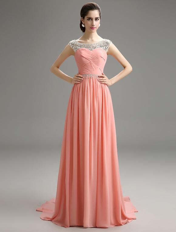 7d3ac817f ... Vestido de noche Rosado Melocotón sin mangas con escote redondo con pliegues  cintura natural-No ...