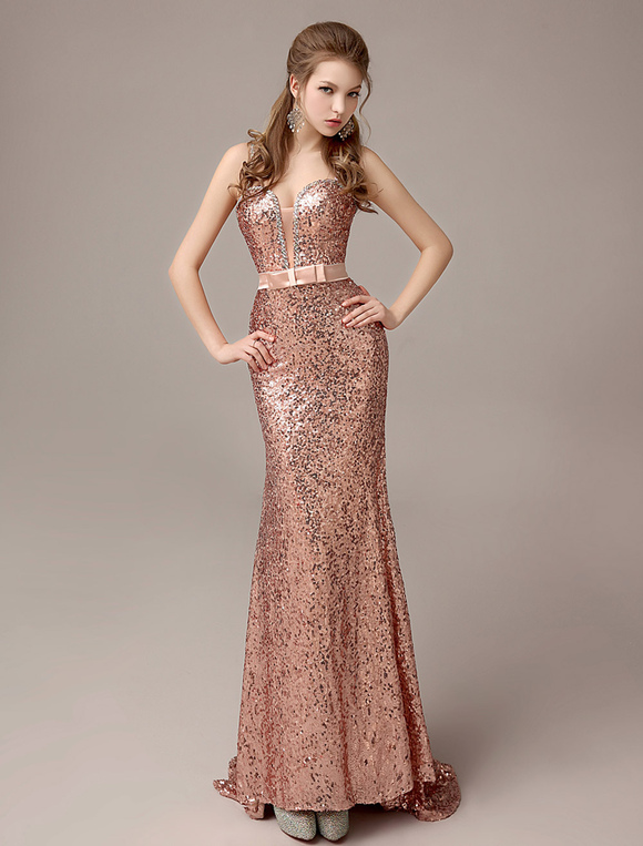 Rose Gold Prom Dresses 2020 Long Nude Mermaid Evening Dress Sequined Straps Party Dress With Train